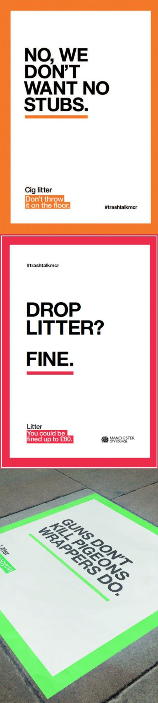 Advertising-Campaign-Manchester-campaign-to-stop-people-from-littering.-Playful-approach-with-copy-re Advertising Campaign : Manchester campaign to stop people from littering. Playful approach with copy re...