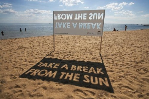 Advertising-Campaign-Cool-Idea.-I39d-add-a-large-sunshade-for-people-to-use.-The-brand-would-be Advertising Campaign : Cool Idea.   I'd add a large sunshade for people to use.  The brand would be...