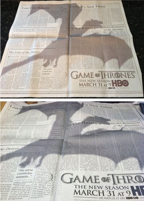 """Print-Advertising-This-Game-Of-Thrones-Ad-Is-The-Best-Print-Ad-Of-The-Year-in-the-New-York-Time Advertising Campaign : This """"Game Of Thrones"""" Ad Is The Best Print Ad Of The Year in the New York Times..."""