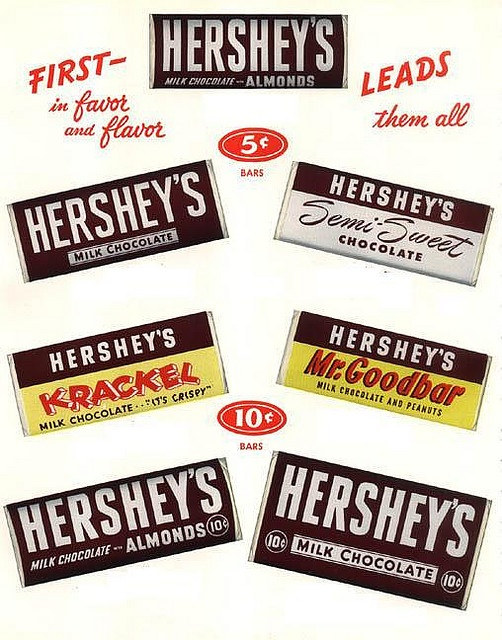 Vintage-Ads-A-great-1950s-ad-for-Hersheys-chocolate-bars-that-shows-a-selection-of-the-prod Vintage Ads : A great 1950s ad for Hershey's chocolate bars that shows a selection of the prod...