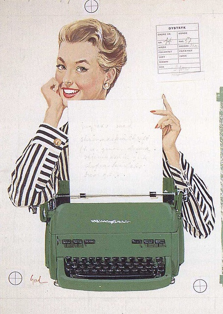 Vintage-Advertising-A-lovely-1950s-illustrated-typewriter-ad Vintage Advertising : A lovely 1950s illustrated typewriter ad.