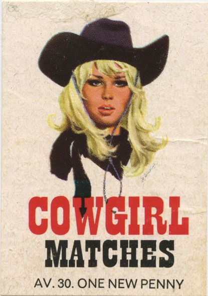 Vintage-Advertising-Cowgirl-matches Vintage Advertising : Cowgirl matches