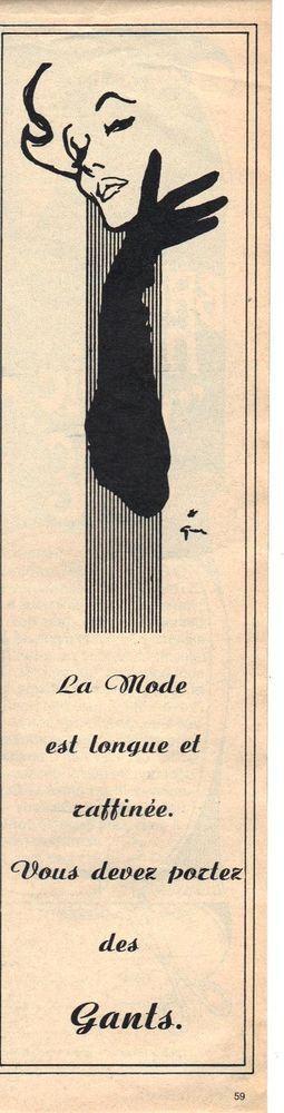 PUBLICITE ADVERTISING  1960  Les GANTS la mode dessinée par Rene GRUAU