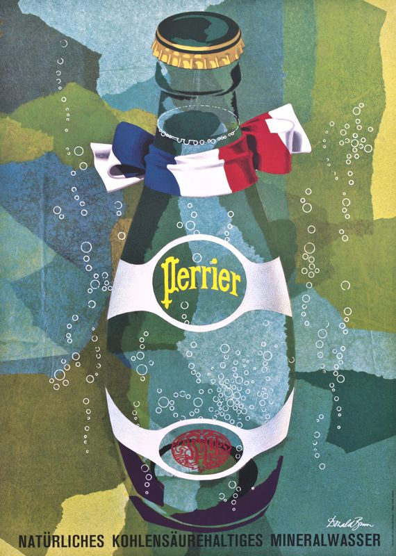 Vintage-Advertising-Perrier-by-c.-1955-Donald-Brun Vintage Advertising : Perrier by (c. 1955) | Donald Brun, |