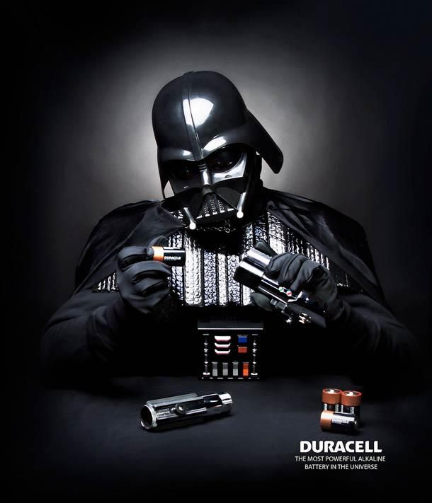 Advertising-Campaign-Amusing-Star-Wars-Illustration-PD Print Advertising : Duracell :: Darth Vader