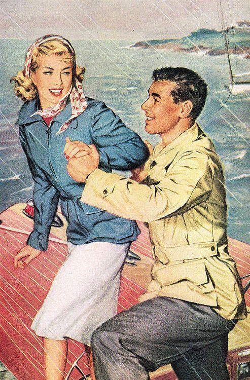 Vintage-Advertising-Détail-Couple-imperméable-de-1947-DuPont-annonce.-2121 Vintage Advertising : Détail Couple imperméable de 1947 DuPont annonce. 2121