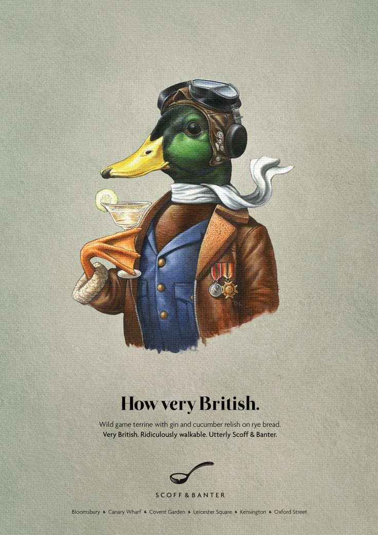 Advertising-Campaign-Scoff-Banter-Duck-How-very-British.-Wild-game-terrine-with-gin-and-cucumber-r Advertising Campaign : Scoff & Banter: Duck How very British. Wild game terrine with gin and cucumber r...