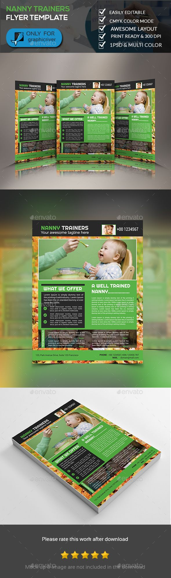 Healthcare-Advertising-Nanny-Trainer-Flyer-Template-Flyers-Print-Templates Healthcare Advertising : Nanny Trainer Flyer Template - Flyers Print Templates