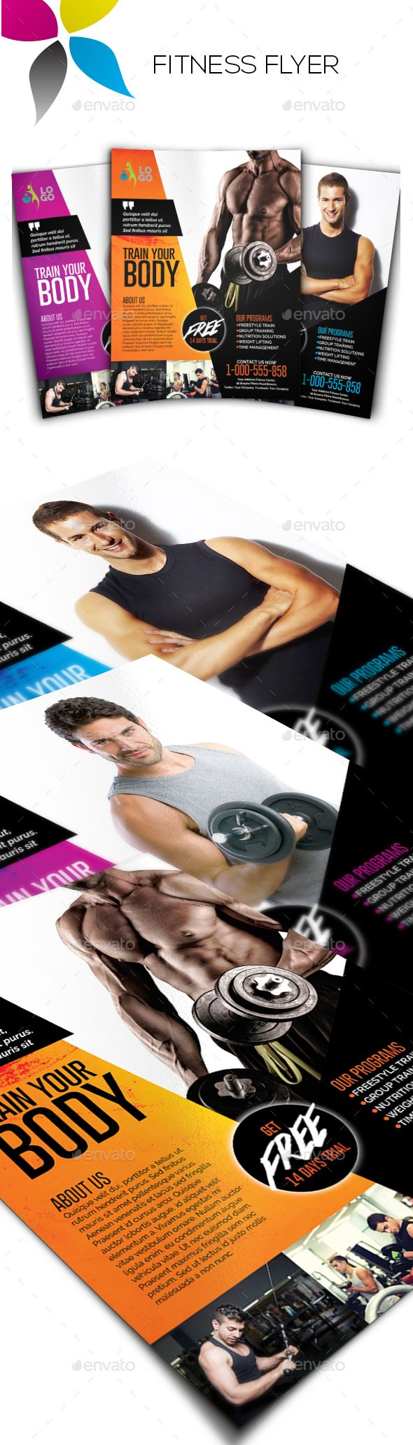 Healthcare-Advertising-Fitness-Flyer-by-inddesigner-A4-210x297mm-US-Letter-8.5x11in-Bleed-5-mm-Adobe-Ph Healthcare Advertising : Fitness Flyer - Sports Events