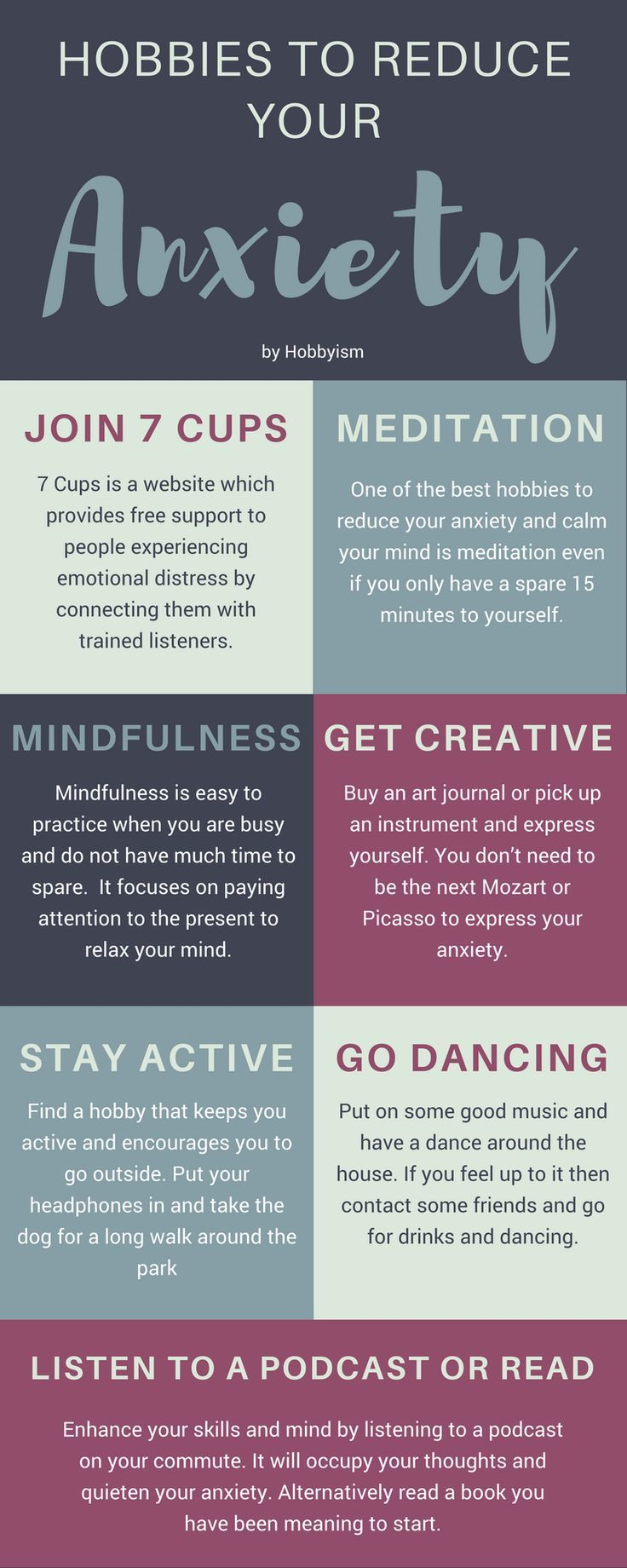 Psychology-Infographic-Hobbies-that-will-help-to-reduce-and-silence-your-anxiety-by-Hobbyism Psychology Infographic : Hobbies that will help to reduce and silence your anxiety by Hobbyism.