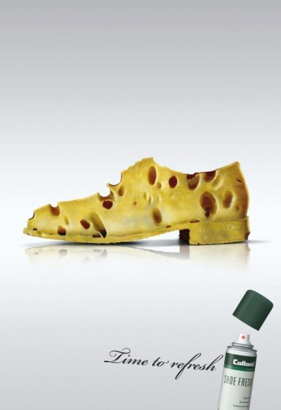 Creative-Advertising-awesome-ad-The-shoe-is-shaped Creative Advertising : awesome ad - The shoe is shaped like cheese indicating that shoes smell like che...