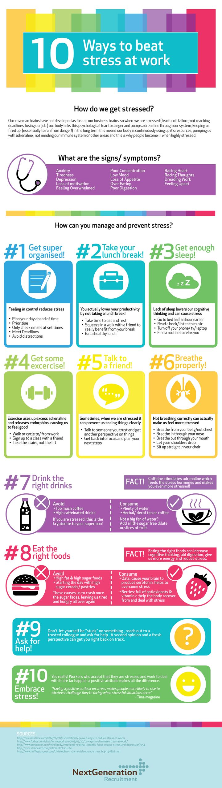 Psychology-Infographic-10-Ways-to-Beat-Stress-at-Work Psychology Infographic : 10 Ways to Beat Stress at Work by Next Generation Recruitment