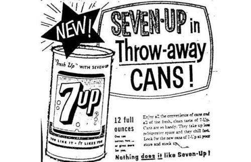 Advertising-Inspiration-New-Seven-Up-in-Throw-away-Cans-1960Source Advertising Inspiration : New Seven-Up in Throw-away Cans! (1960)Source:...