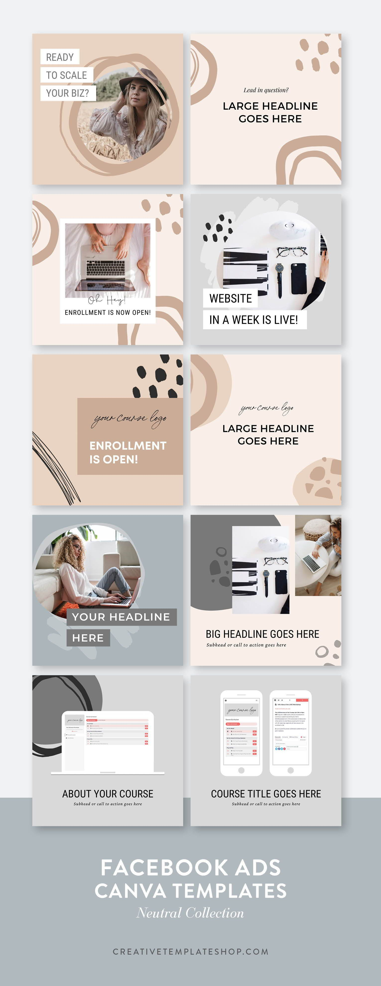 Advertising-Infographics-Facebook-Ad-Templates-Canva-Neutral Advertising Infographics : Facebook Ad Templates | Canva | Neutral Collection — The Creative Template Shop