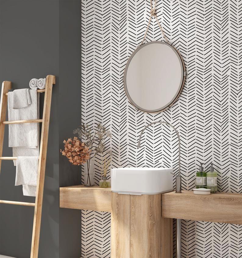 Infographic : Papier peint amovible minimaliste. Papier peint Chevron. Fond d'écran moderne ...