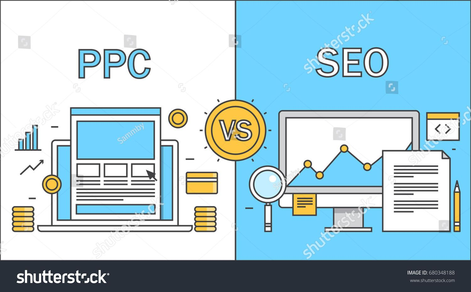Advertising-Infographics-Comparison-Between-Seo-Ppc-Search-Optimization-Stock Advertising Infographics : Comparison Between Seo Ppc Search Optimization Stock Vector (Royalty Free) 680348188