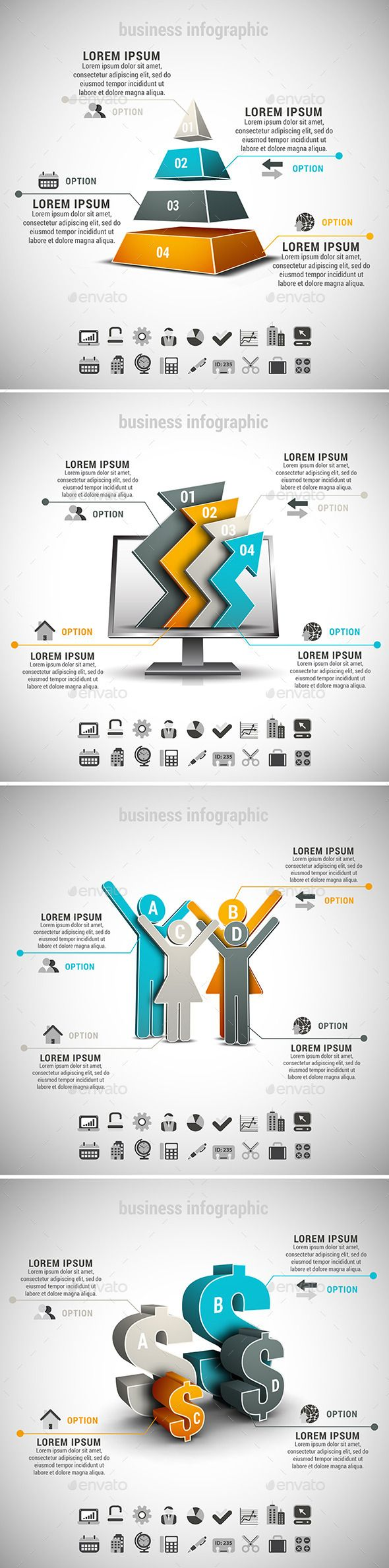 Advertising-Infographics-4-in-1-Business-Infographics-Bundle-Vector Advertising Infographics : 4 in 1 Business Infographics Bundle. Vector set of different business infographi...